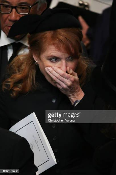Sarah Ferguson Duchess of York leaves the Ceremonial funeral of former British Prime Minister Baroness Thatcher at St Paul's Cathedral on April 17...
