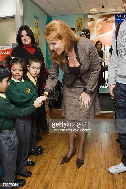 Sarah Ferguson Duchess of York meets local school children at the release of her new series of children's books entitled 'Helping Hands' which serve...