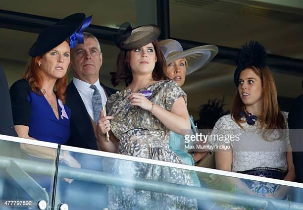 Sarah Ferguson Duchess of York Prince Andrew Duke of York Princess Eugenie Catrina Skepper Countess GuerriniMaraldi and Princess Beatrice watch the...