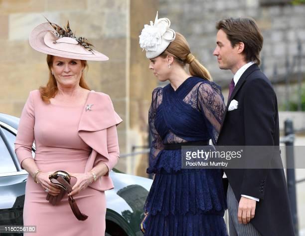 Sarah Ferguson, Duchess of York, Princess Beatrice and Edoardo Mapelli Mozzi attend the wedding of Lady Gabriella Windsor and Thomas Kingston at St...