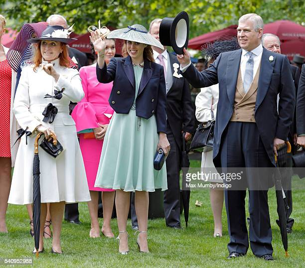 Sarah Ferguson Duchess of York Princess Beatrice and Prince Andrew Duke of York attend day 4 of Royal Ascot at Ascot Racecourse on June 17 2016 in...
