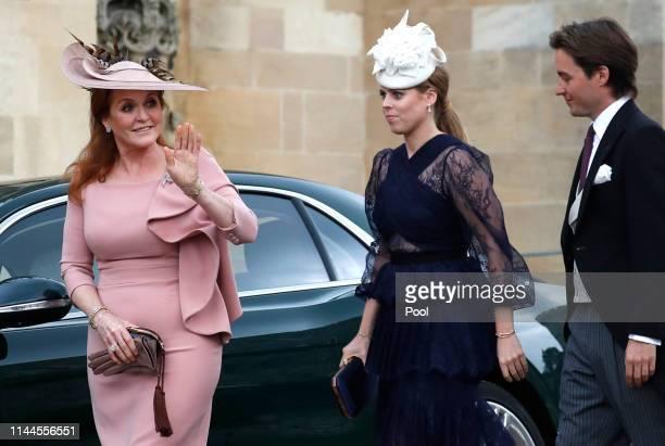Sarah Ferguson, Duchess of York, Princess Beatrice of York and Edoardo Mapelli Mozzi arrive ahead of the wedding of Lady Gabriella Windsor and Thomas...