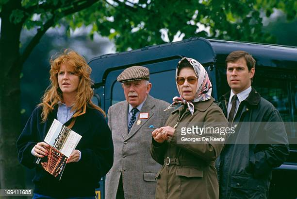 Sarah Ferguson, Duchess of York, Queen Elizabeth II, and Prince Andrew of York at the Royal Windsor Horse Show, 16th May 1987.