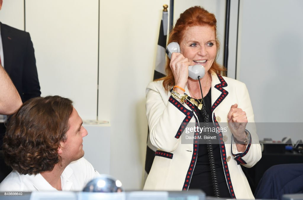 Sarah Ferguson, Duchess of York, representing Children In Crisis, makes a trade at BGC Charity Day on September 11, 2017 in London, United Kingdom.
