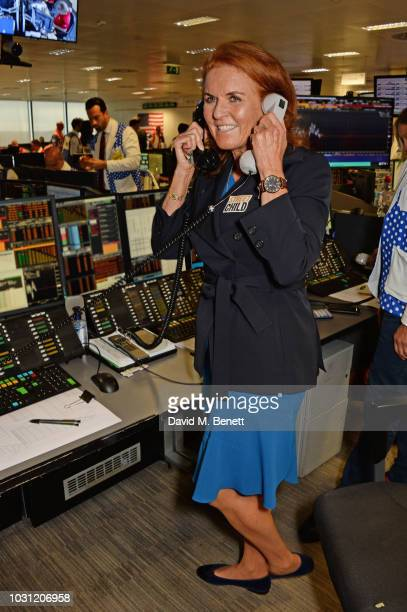 Sarah Ferguson Duchess of York representing Street Child makes a trade at BGC Charity Day at One Churchill Place on September 11 2018 in London...