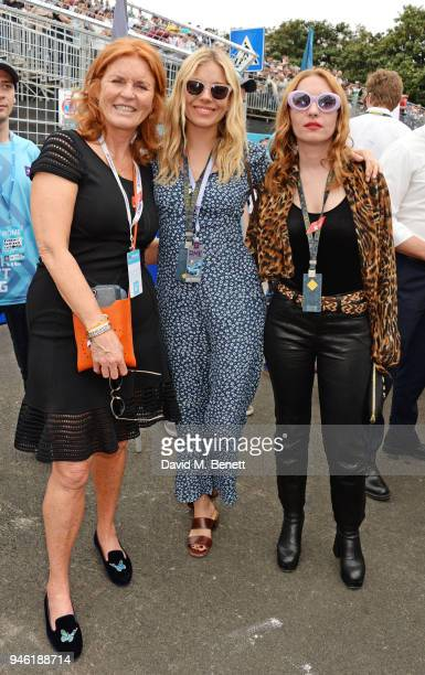 Sarah Ferguson Duchess of York Sienna Miller and Josephine de La Baume attend the ABB FIA Formula E CBMM Niobium Rome EPrix 2018 on April 14 2018 in...