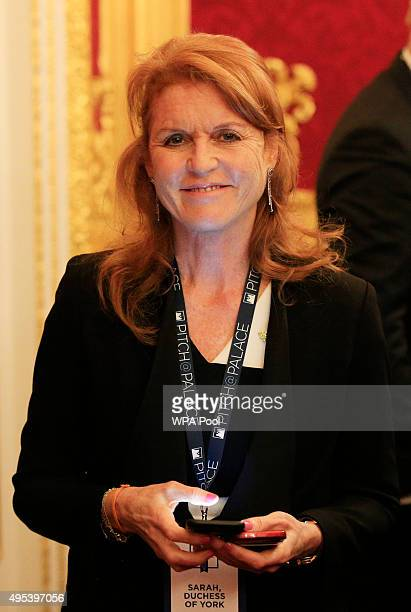 Sarah Ferguson Duchess of York speaks to guests during the Pitch@Palace entrepreneurial event at St James's Palace on November 2 2015 in London...