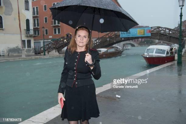 Sarah Ferguson, Duchess of York visits the flooded zones in Venice on November 15, 2019 in Venice, Italy.