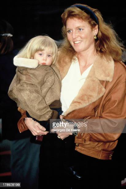 Sarah Ferguson Duchess of York with her daughter Princess Beatrice of York during a skiing holiday on Genuary 13 1991 in Klosters Switzerland