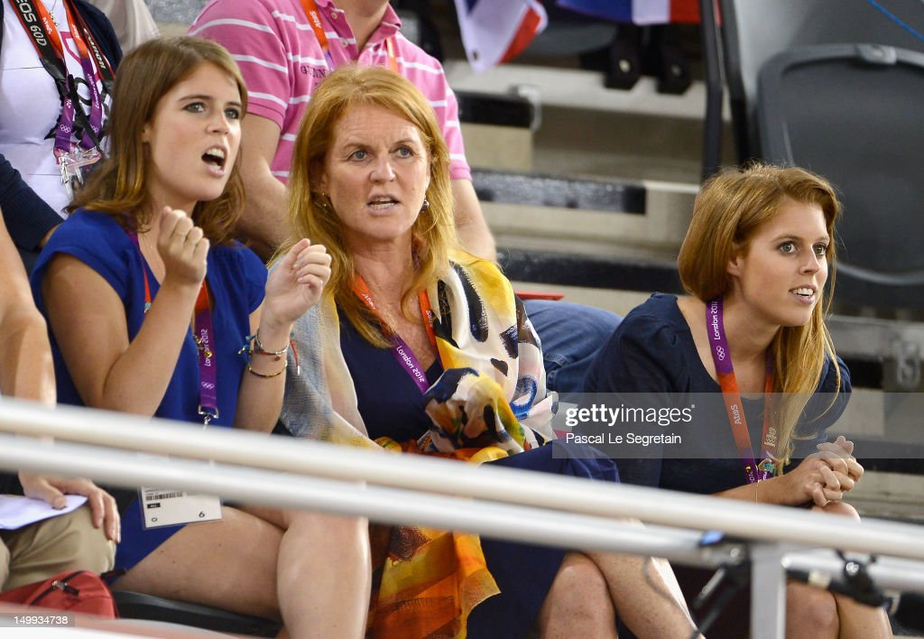 Sarah Ferguson, Duchess of York (C) with her daughters Princess Eugenie (L) and Princess Beatrice watch the Track Cycling on Day 11 of the London 2012 Olympic Games at the Velodrome on August 7, 2012 in London, England.