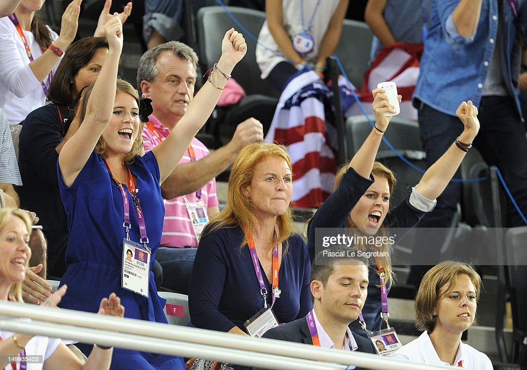 Sarah Ferguson, Duchess of York (C) with her daughters Princess Eugenie (L) and Princess Beatrice enjoy the atmosphere as they watch the Track Cycling on Day 11 of the London 2012 Olympic Games at the Velodrome on August 7, 2012 in London, England.