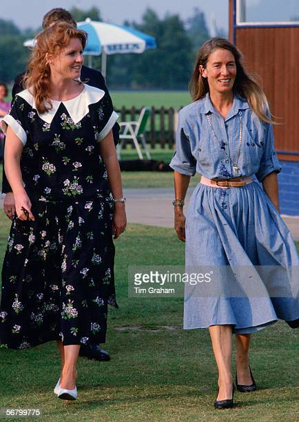 Sarah Ferguson Duchess of York with her mother, Susan Barrantes, at Polo in Windsor.