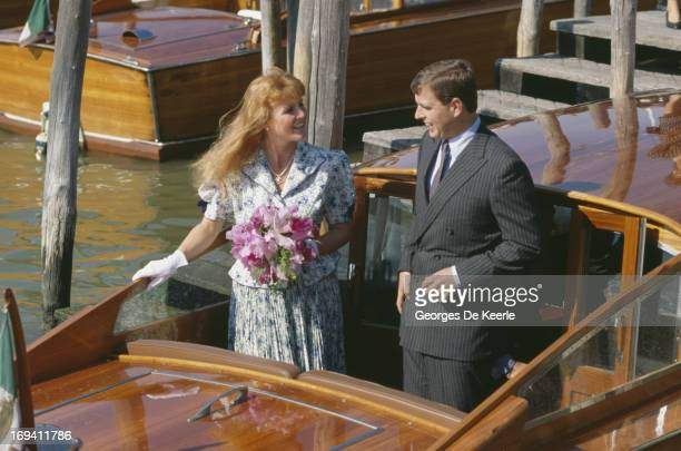 Sarah Ferguson Duchess of York with Prince Andrew Duke of York on a boat during a visit to Venice Italy August 1989