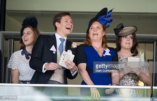 Sarah Ferguson Duchess of York with Princess Eugenie and Princess Beatrice with Dave Clark on day 4 of Royal Ascot at Ascot Racecourse on June 19...