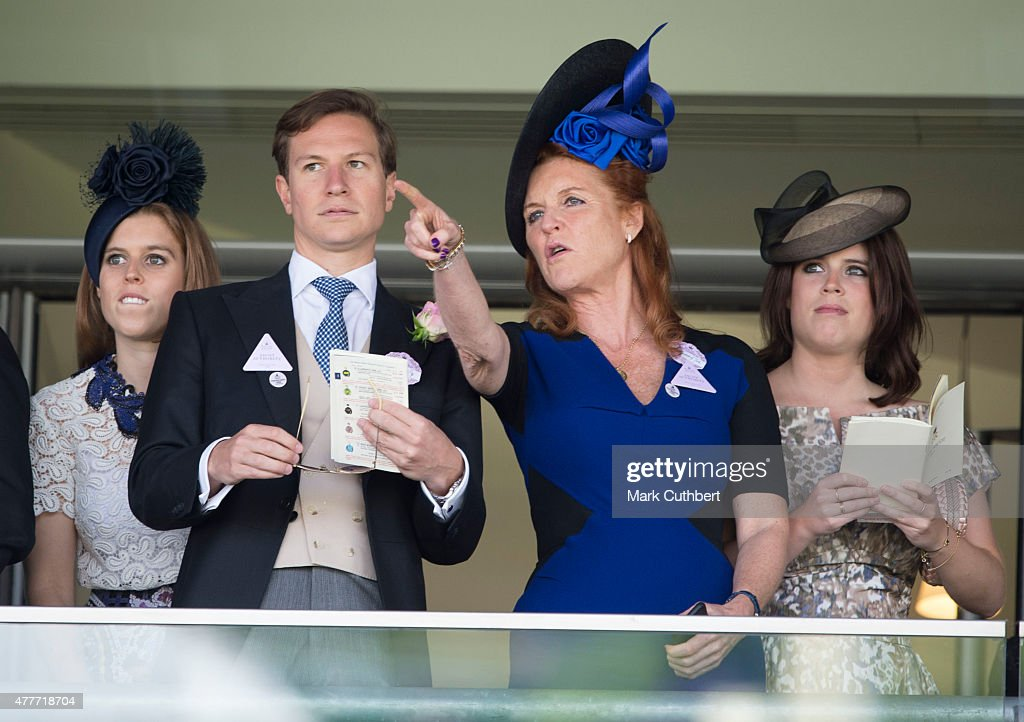 Sarah Ferguson, Duchess of York with Princess Eugenie and Princess Beatrice with Dave Clark on day 4 of Royal Ascot at Ascot Racecourse on June 19, 2015 in Ascot, England.