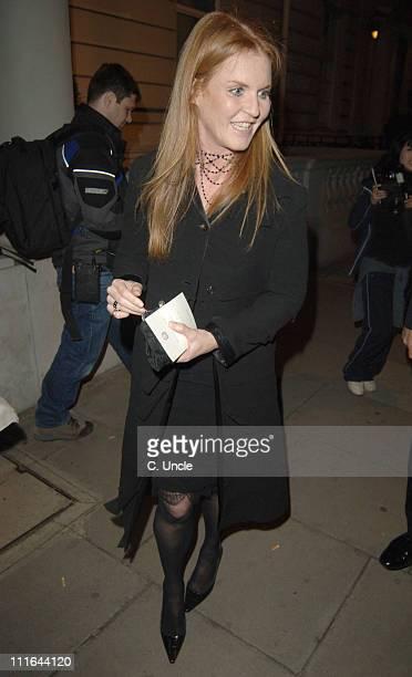 Sarah Ferguson during Salvatore Ferragamo at the Italian Embassy Departures at Italian Embassy in London Great Britain