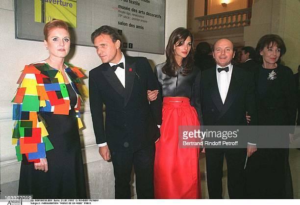 Sarah Ferguson JeanCharles De Castelbajac Jacques Toubon Lise Toubon Tasha at theOpening Of Musee De La Mode In Paris