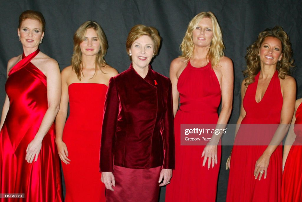 Olympus Fashion Week Fall 2005 - Heart Truth Red Dress Collection - Special Post-Show Meet and Greet with First Lady Laura Bush : News Photo