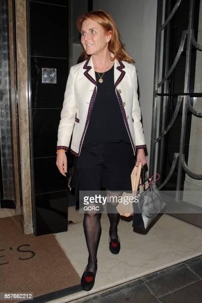 Sarah Ferguson leaving Claridges hotel on October 4 2017 in London England