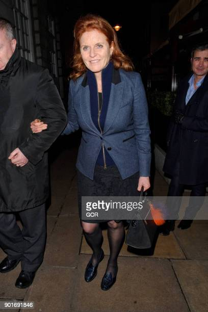 Sarah Ferguson leaving Lou Lou's private members club in Mayfair on January 5 2018 in London England