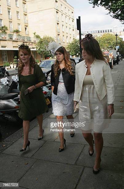 Sarah Ferguson Princess Eugenie and Princess Beatrice attend the wedding of Chloe Delevingne and Louis Buckworth on September 7 2007 in London England