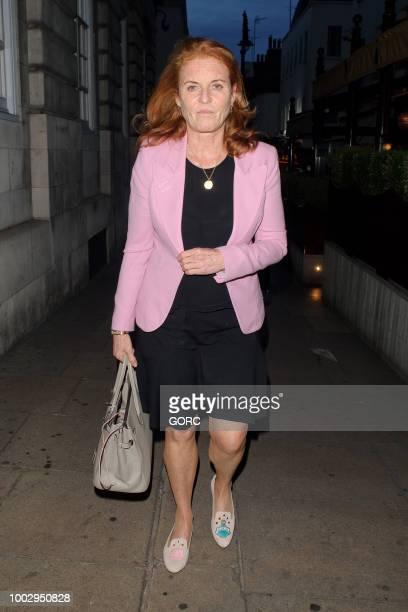 Sarah Ferguson seen leaving Lous Lou's private club in Mayfair on July 20 2018 in London England