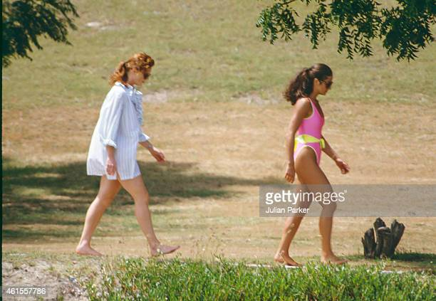 CARIBBEAN ANTIGUA MAY 29 Sarah Ferguson shortly before her Wedding to Prince Andrew on holiday in Antigua with friend Florence Belmondo on May 29 in...