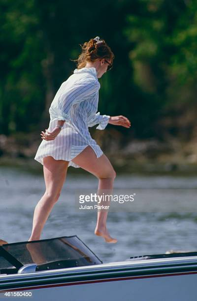 Sarah Ferguson shortly before her Wedding to Prince Andrew on holiday in Antigua with friend Florence Belmondo on June 1 in Antigua Caribbean