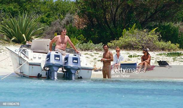Sarah Ferguson shortly before her Wedding to Prince Andrew on holiday in Antigua with friend Florence Belmondo accompanied by security picnic on Bird...