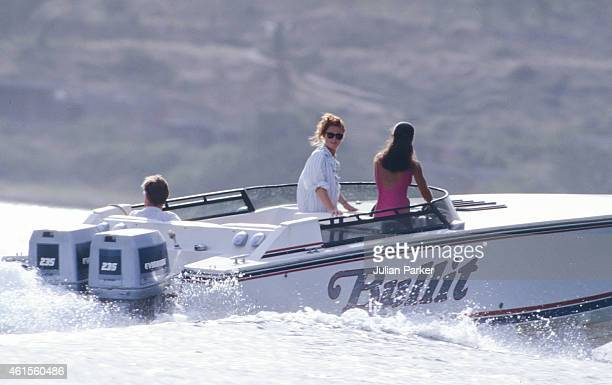 CARIBBEAN ANTIGUA JUNE 1 Sarah Ferguson shortly before her Wedding to Prince Andrew on holiday in Antigua with friend Florence Belmondo accompanied...