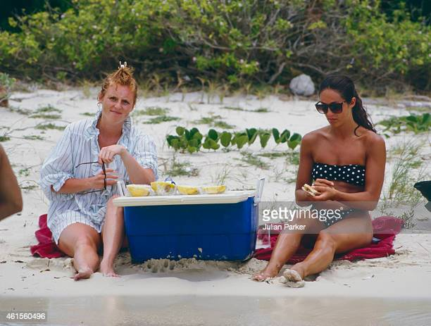 Sarah Ferguson shortly before her Wedding to Prince Andrew on holiday in Antigua with friend Florence Belmondo picnic on Bird IslandAntigua on June 1...