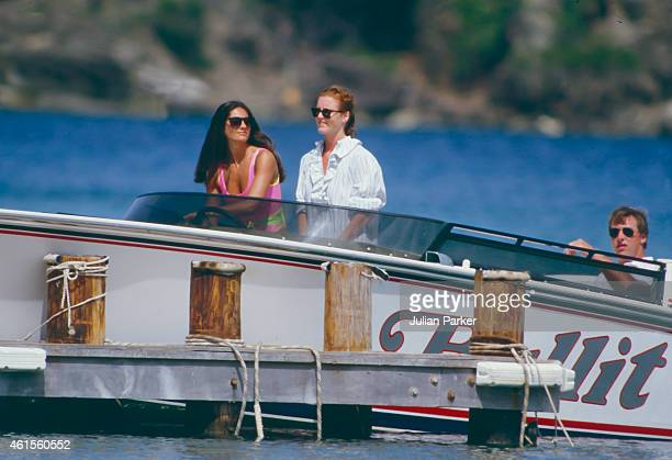 CARIBBEAN ANTIGUA MAY 29 Sarah Ferguson shortly before her Wedding to Prince Andrew on holiday in Antigua with friend Florence Belmondo accompanied...
