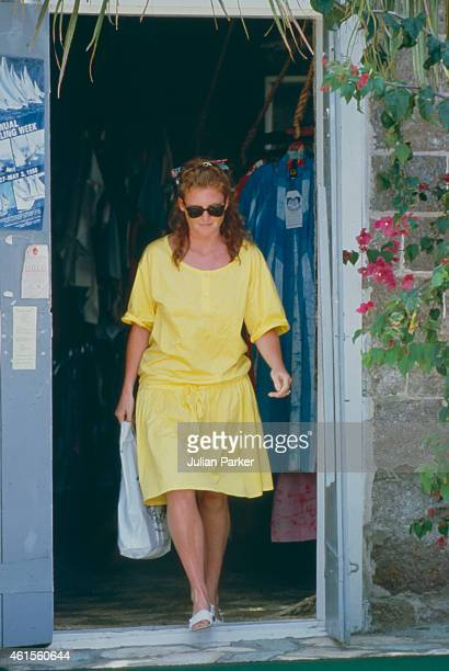 Sarah Ferguson shortly before her Wedding to Prince Andrew on holiday in Antigua with friend Florence Belmondo on June 2 in Antigua Caribbean