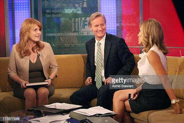 Sarah Ferguson talks to hosts Steve Doocy and Alisyn Camerota during a taping of 'FOX Friends' at FOX Studios on June 28 2011 in New York City