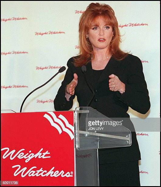 """Sarah Ferguson, the Duchess of York, addresses a """"Weight Watchers"""" press conference 15 January in New York. The Duchess, who spoke about her own..."""