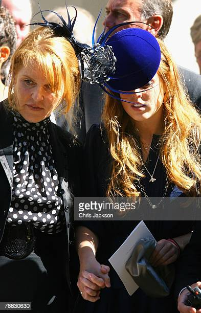 Sarah Ferguson, The Duchess of York, and Princess Beatrice hold hands as they leave the Isabella Blow Tribute at Guards Chapel on September 18, 2007...