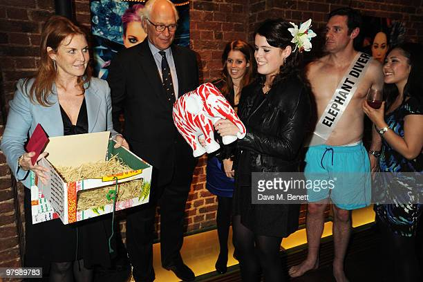 Sarah Ferguson, the Duchess of York,, Sir Evelyn de Rothschild, Princess Beatrice and Princess Eugenie attend the launch of The Elephant Parade on...