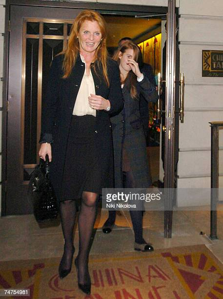 Sarah Ferguson the Duchess of York with daughter Princess Beatrice at the Celebrity and Royal Sightings at China Tang in London February 22 2006 at...