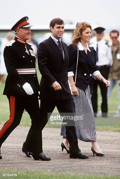 Sarah Ferguson With Prince Andrew Visiting The Isle Of Wight With Them Is The Lord Lieutenant Of The County