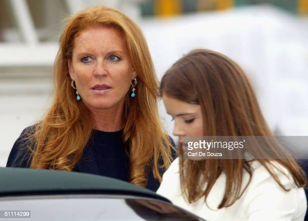 Sarah FergusonThe Duchess of York and daughter Eugenie Windsor look on at the Guards Polo Club on July 25 2004 in Windsor England