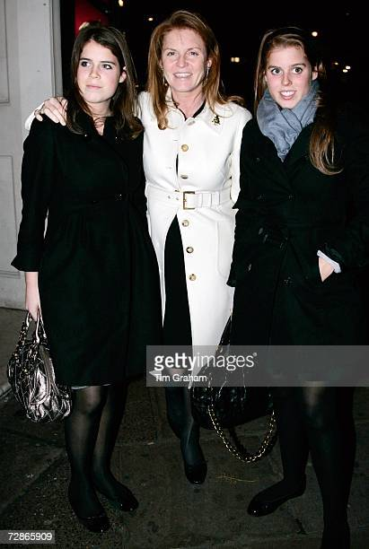 Sarah Ferguson,the Duchess of York with daughters Princess Beatrice and Princess Eugenie arrive at the Aldwych Theatre to see 'Dirty Dancing' on...