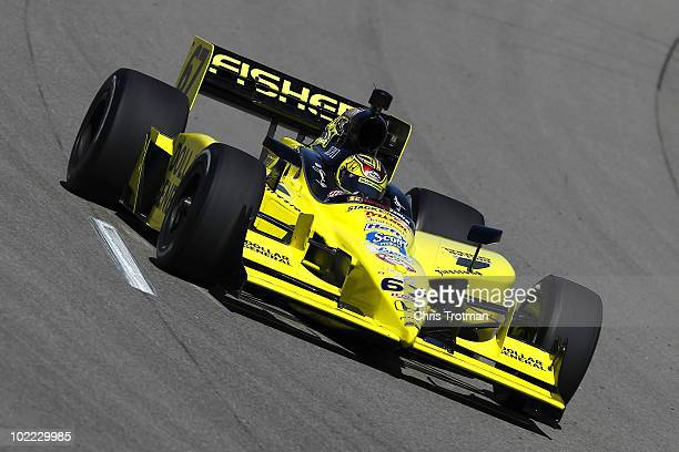 Sarah Fisher drives the Sarah Fisher Racing Dallara Honda during practice for the IRL Indycar Series Iowa Corn Indy 250 on June 19 2010 at the Iowa...