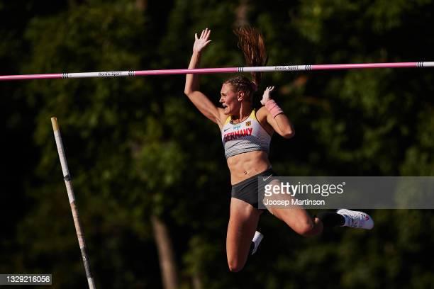 Sarah Franziska Vogel of Germany competes in the Women's Pole Vault final during European Athletics U20 Championships Day 3 at Kadriorg Stadium on...
