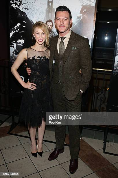 Sarah Gadon and Luke Evans attend Dracula Untold New York Premiere at AMC Loews 34th Street 14 theater on October 6 2014 in New York City
