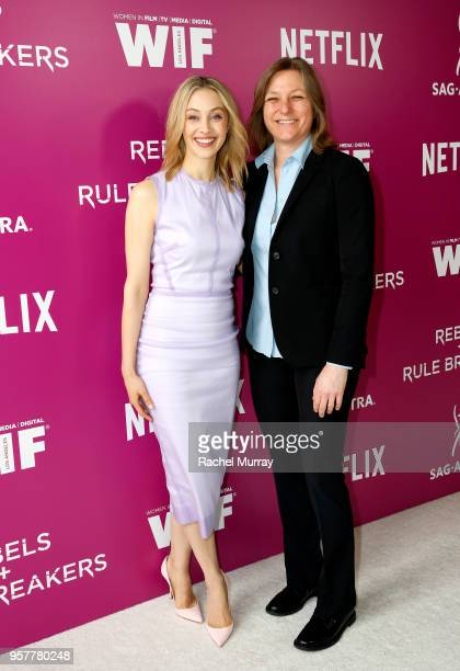 Sarah Gadon and Netflix VP of Original Content Cindy Holland attends the Rebels and Rule Breakers Panel at Netflix FYSEE at Raleigh Studios on May 12...