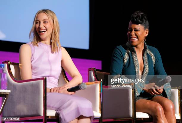 Sarah Gadon and Regina King attend the Rebels and Rule Breakers Panel at Netflix FYSEE at Raleigh Studios on May 12 2018 in Los Angeles California