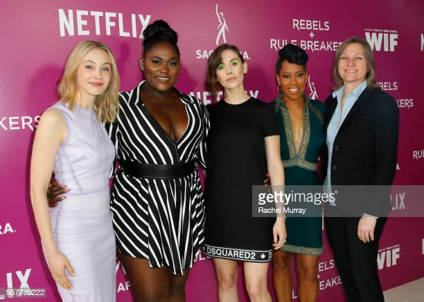 Sarah Gadon Danielle Brooks Alison Brie and Regina King attend the Rebels and Rule Breakers Panel at Netflix FYSEE at Raleigh Studios on May 12 2018...