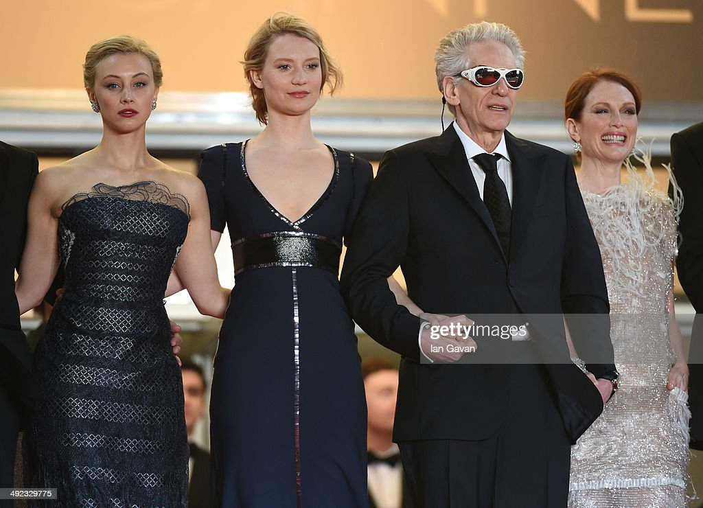 Sarah Gadon, Mia Wasikowska, David Cronenberg and Julianne Moore, attends the 'Maps To The Stars' premiere during the 67th Annual Cannes Film Festival on May 19, 2014 in Cannes, France.