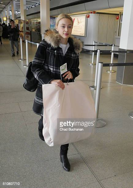 Sarah Gadon sighted at Tegel Airport on February 17 2016 in Berlin Germany