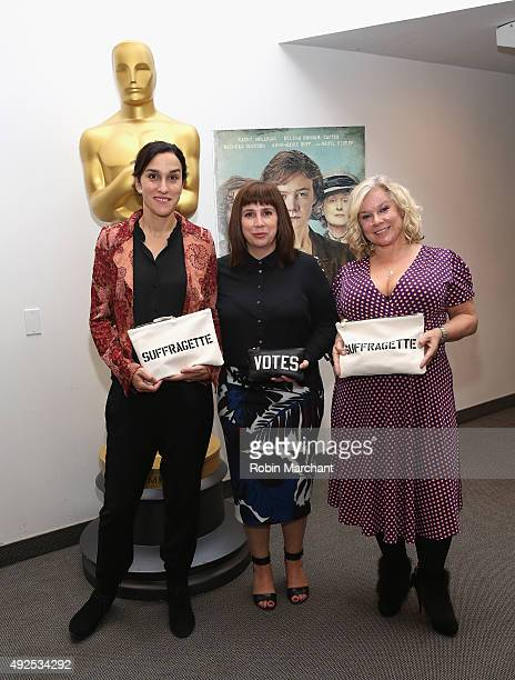 Sarah Gavron Abi Morgan and Alison Owen attend the official academy screening of SUFFRAGETTE hosted by The Academy of Motion Picture Arts and...